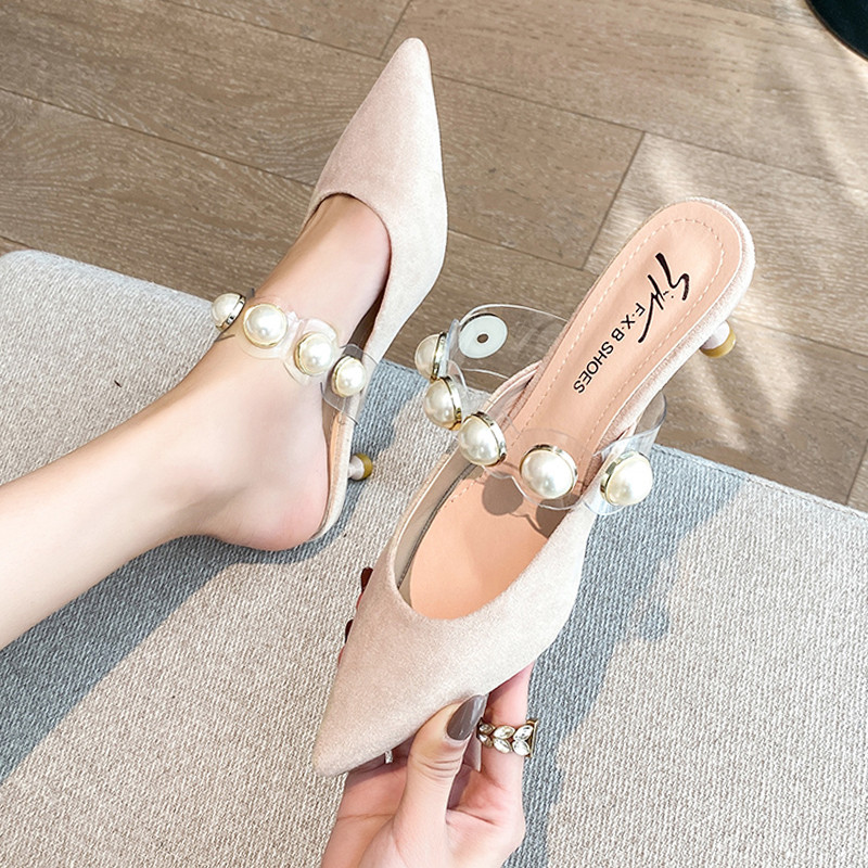 Shoes Thin Heels Flock Cover Toe Ladies' Slippers Med Luxury Slides Slipers Women Shallow Heeled Mules Pointed Designer 2020