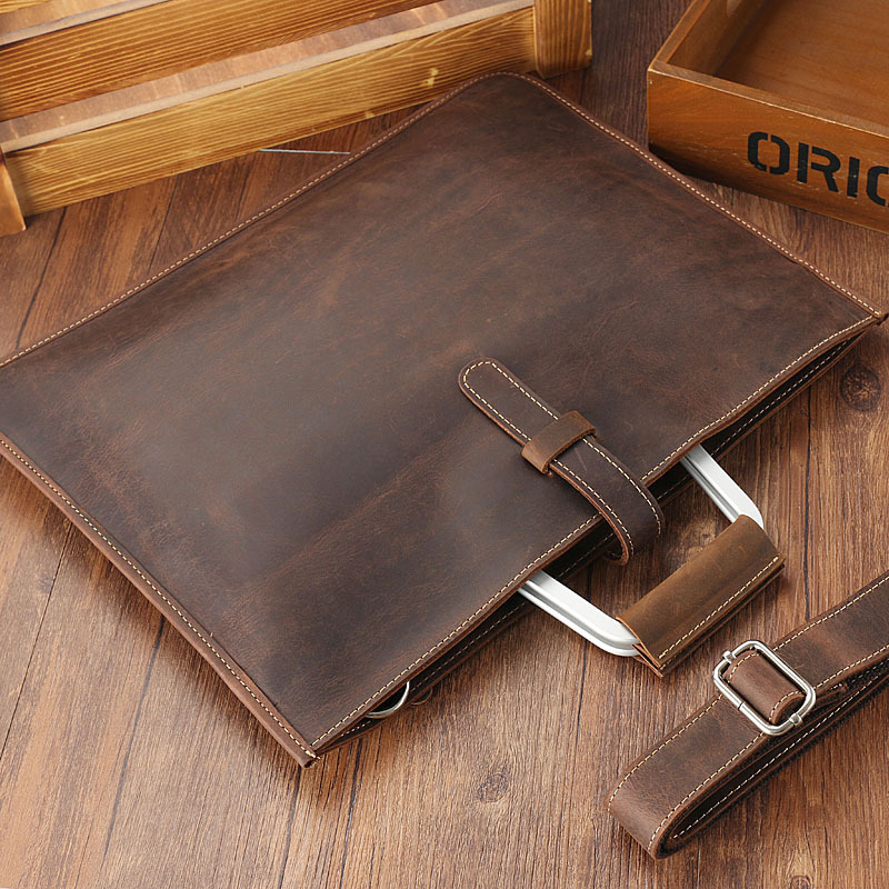 Zipper Briefcase Men Genuine Leather Bag Messenger Office Bags For Men Crazy Horse Leather Laptop Bag 14 Inch Maletines Hombre