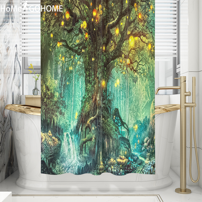 psychedelic forest tree shower curtain