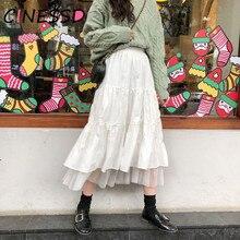 Pleated Skirts Female Black White Long Skirt Streetwear