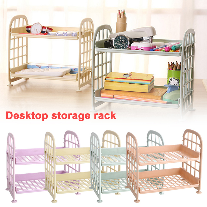 2 Floors Storage Rack 21.5*14*20cm Toilet Storage Holder PP Basin Soap Stretcher Kitchen Fruit Accessories Bathroom Desk Shelf