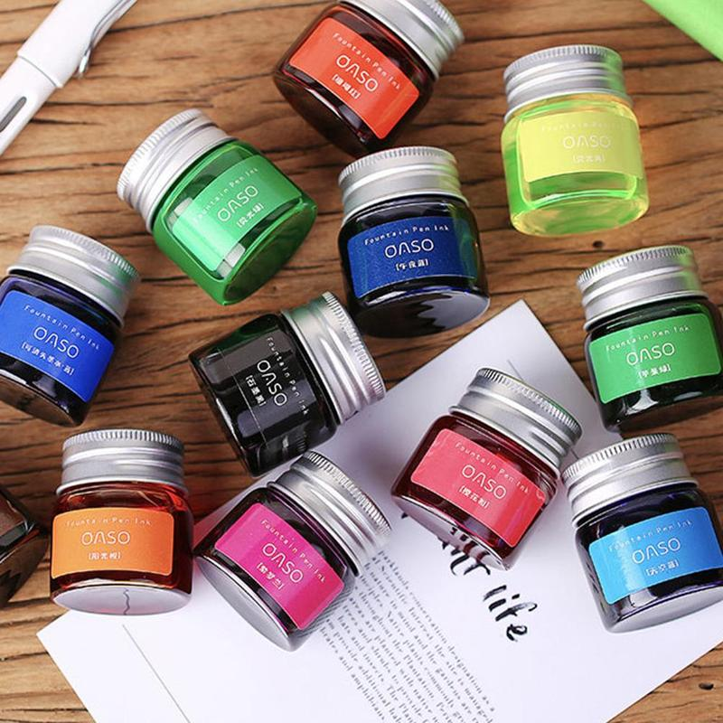 1pcs 20ml Authentic Pure Colorful Ink Without Fountain Pen Ink Pen Nib Ncomics Refill Penna Stilografica Carbon