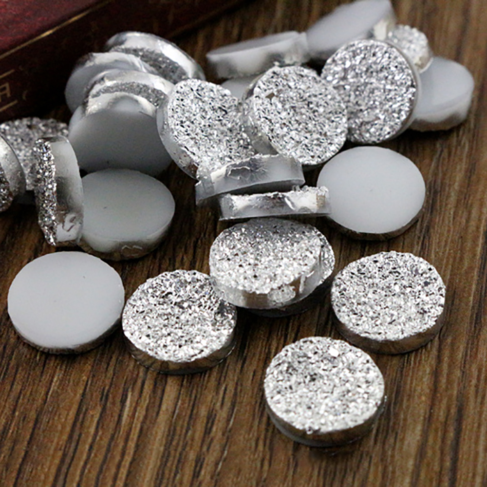 New Fashion 50pcs 12mm Silver Plated Color Ore Style Flat Back Resin Cabochons Cameo  H1-17