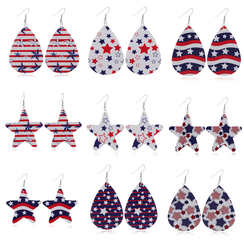New Independence Day Jewelry European And American Personality Leather Earrings PU Leather Water Drop Flag Pentagram Earrings