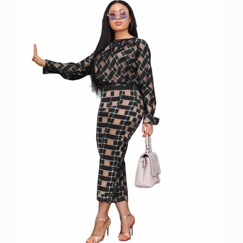 2 Piece Set New Style Classic Africa Clothes African Grid Dashiki Dashiki Fashion Suit Top And Trousers Party Plus Size For Lady