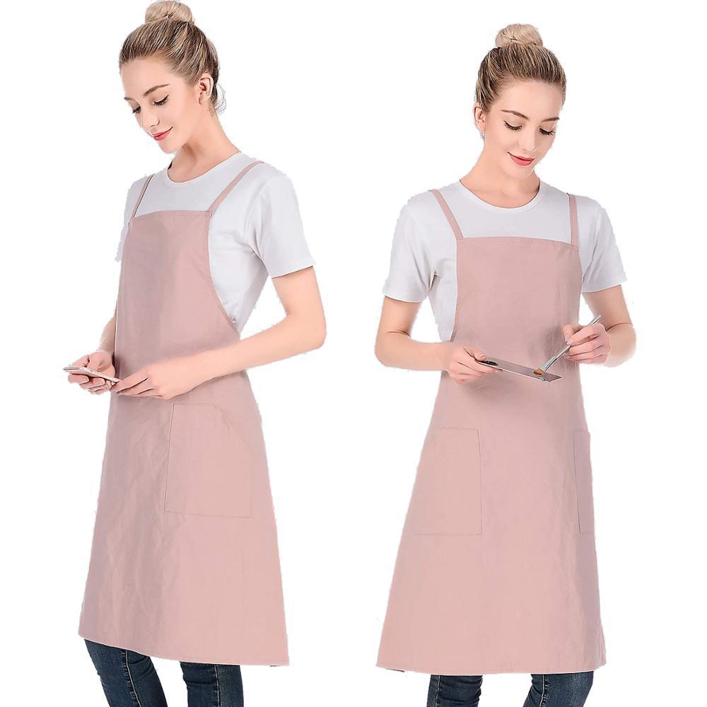 Фартук из 100% хлопка с карманами, Кухонные фартуки для женщин и мужчин, для ресторана, кафе, для работы, форма с логотипом на заказ