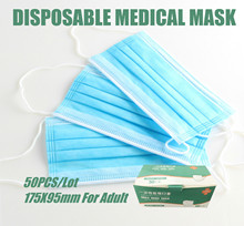 Medical Face Mask 50 Pcs Disposable Medical Masks Respirator 3 Layer Earloop Masks For Adult Surgical Medical Masks