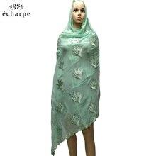 Moda bordado conjunto auger africano feminino na cabeça cachecol muçulmano novo tipo cachecol grandes jardas fora do lenço de algodão