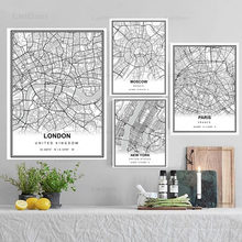 Toile de peinture en noir et blanc, carte de ville, Paris, londres, New York, Bordeaux, affiche d'art, décor de maison, image murale moderne nordique