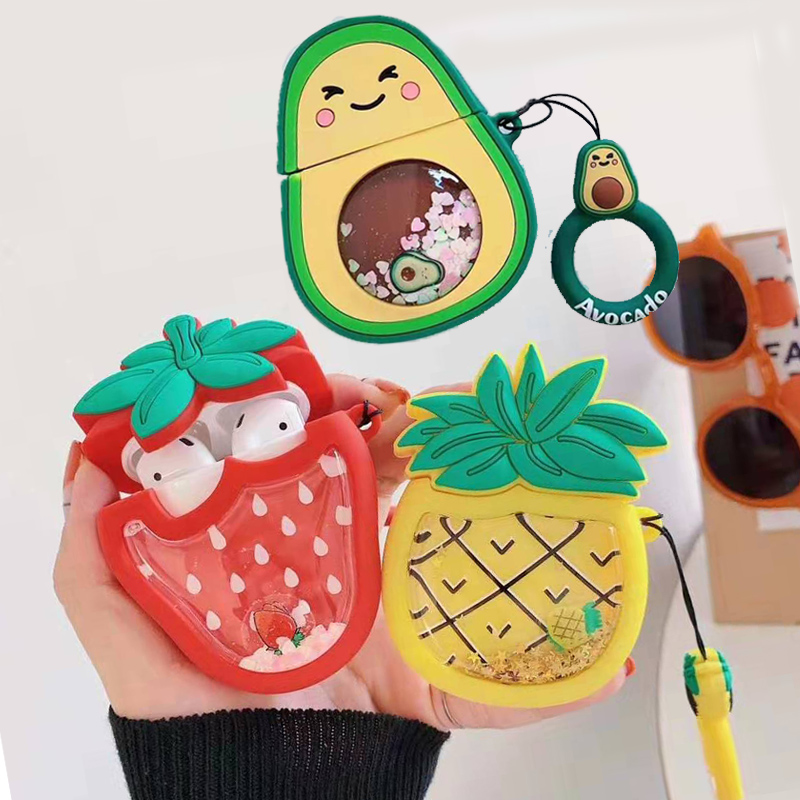 3D Cute Fruit Strawberry Avocado Pineapple Case For Apple Airpods 1 2 Dynamic Liquid Quicksand Ring Wireless Earphone Cover Box
