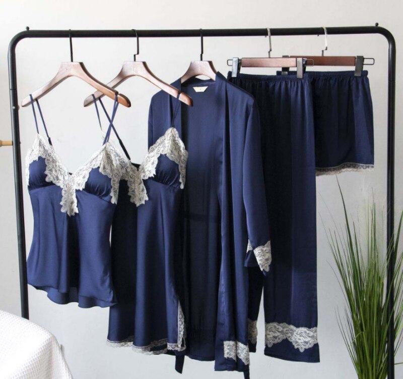 2019 Women Pajamas Sets Satin Sleepwear 5 Pieces Pyjamas Sexy Lace Sleep Lounge Sleeveless Pijama Silk Nightwear Chest Pads