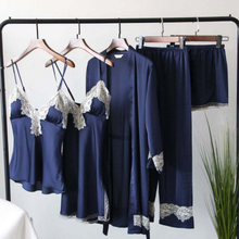 2019 Women Pajamas Sets Satin Sleepwear 5 Pieces Pyjamas Sex