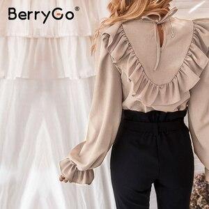Image 5 - Женская блузка с рюшами BerryGo, Элегантная блузка Футболка с круглым вырезом на шнуровке сзади, весенне летний повседневный топ с длинными рукавами фонариками
