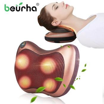 110/220V Electric Infrared Neck Massage Pillow Shiatsu Cushion Massager Neck Back Waist Body Heating Kneading Massage Pillow