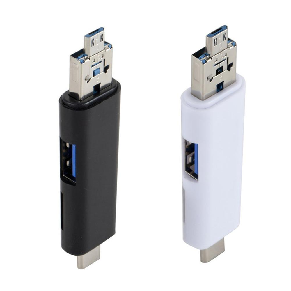 5 In 1 USB2.0 Type C / USB / Micro USB SD TF Memory Card Reader OTG Adapter Connector High Speed Memory Card Reader