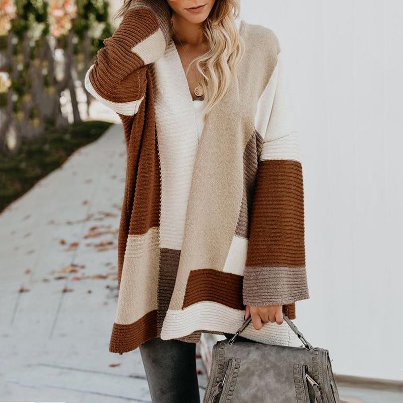 2020 Women knitted cardigan geometric stitching vintage long women sweater warm autumn winter loose cardigan coat female DR2246 (25)