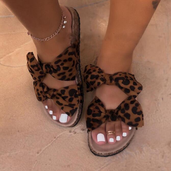 2019 Leopard Women Slipper Summer Open Toe Platform Slide Ladies Fashion Hollow Light Slip On Wedge Sandals Woman Shoes Dropship