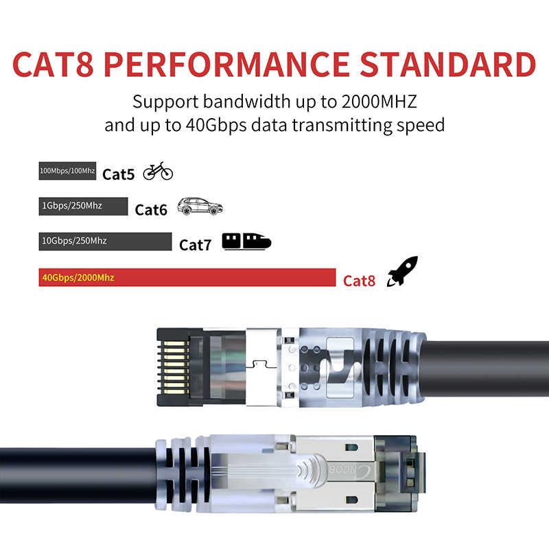 Cable Ethernet Cat8 40Gbps 2000Mhz S/FTP Cable de conexión de alta velocidad con conectores chapados en oro RJ45 para módem Router ordenador Gaming