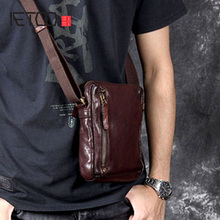 AETOO Casual men's head cowhide small bag retro leather shoulder crossb