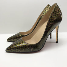 Snakeskin High Heel Stiletto Women Shoes Zapato de Mujer Tacon Shoes Woman Thin Heels Pointy Shallow Pumps For Party Wedding(China)