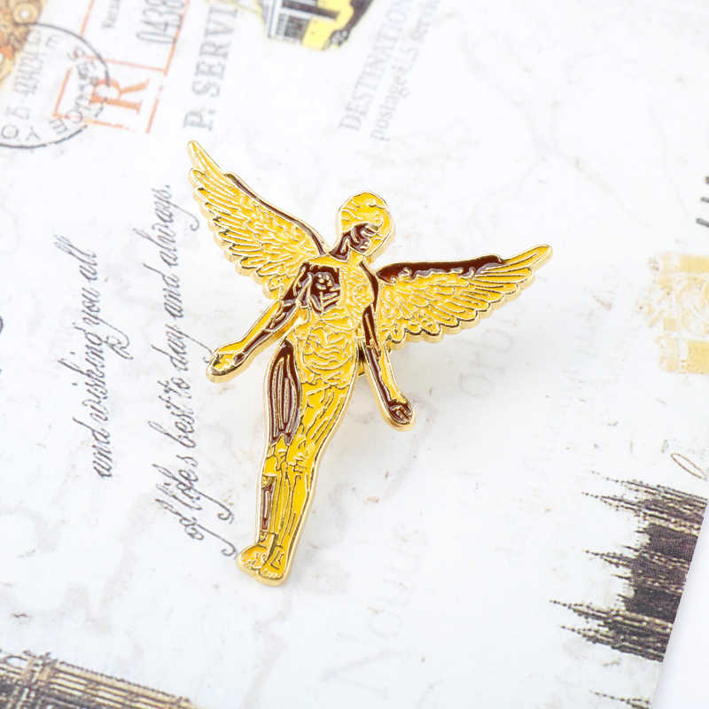 Nirvana Rock Band Pin Logam Di Rahim Musik Lencana Emas Angel Seni Bros Logam Berat Pesta Denim Jaket Aksesori Kipas Angin hadiah