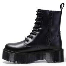 Как jadon 8 глаз ботинки женщин 5 см туфли на платформе ботильоны коренастый женщины кожа мотоцикл женские модельеры 2020