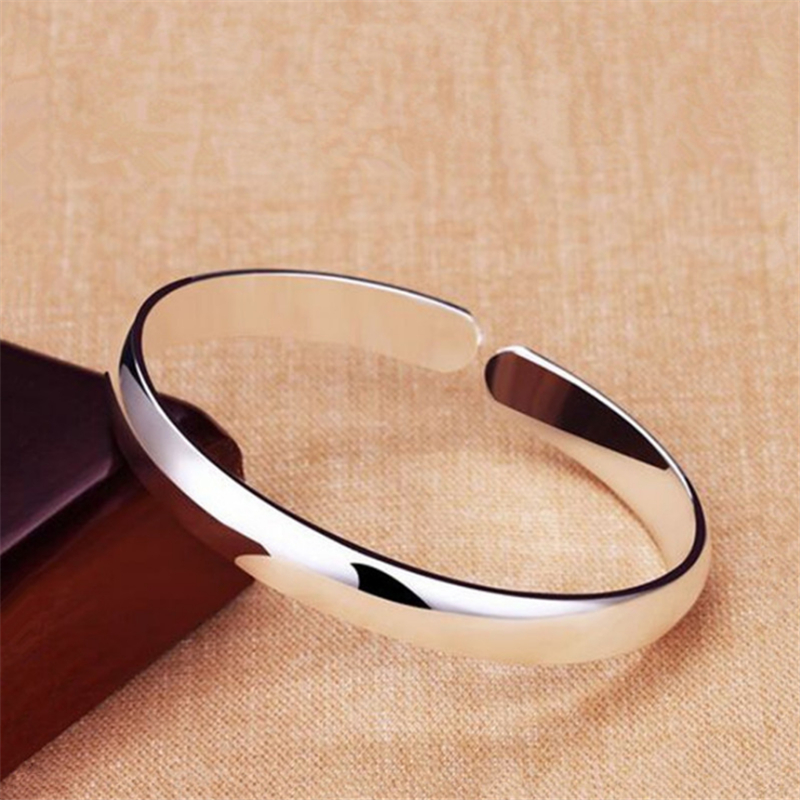 Simple Wide Surface Big Bangles For Women Peace Polished Ladies Woman Adjustable Cuff Bracelet And Bangles