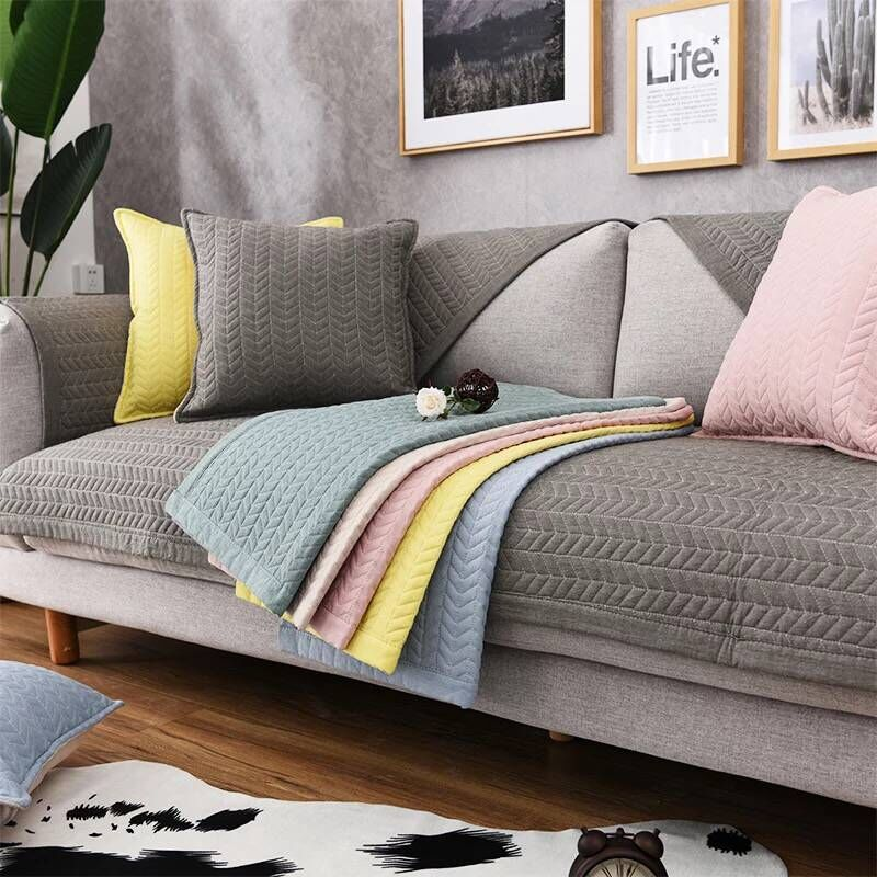 Towel Solid Color Slipcover Couch Cover