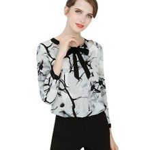 New Women Blouse Summer Round Collar Long Sleeve Chiffon Office Ladies Bow Fashion Printed Tops Blusas