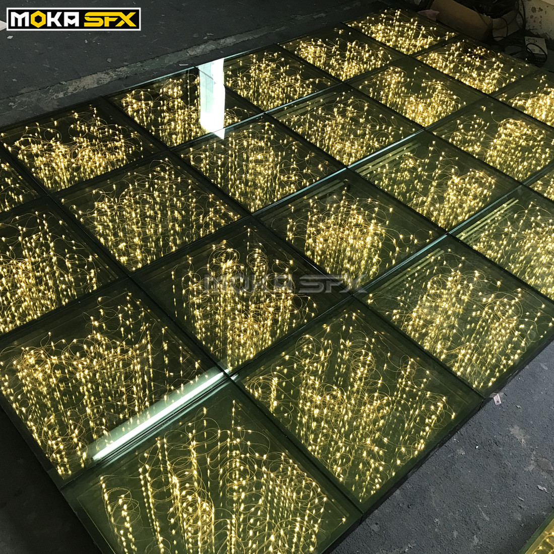 40pcs/lot 3D Starry Gold dance floor with SD controller and power supply Nightclub Disco Party led dancing floor 50x50 per panel