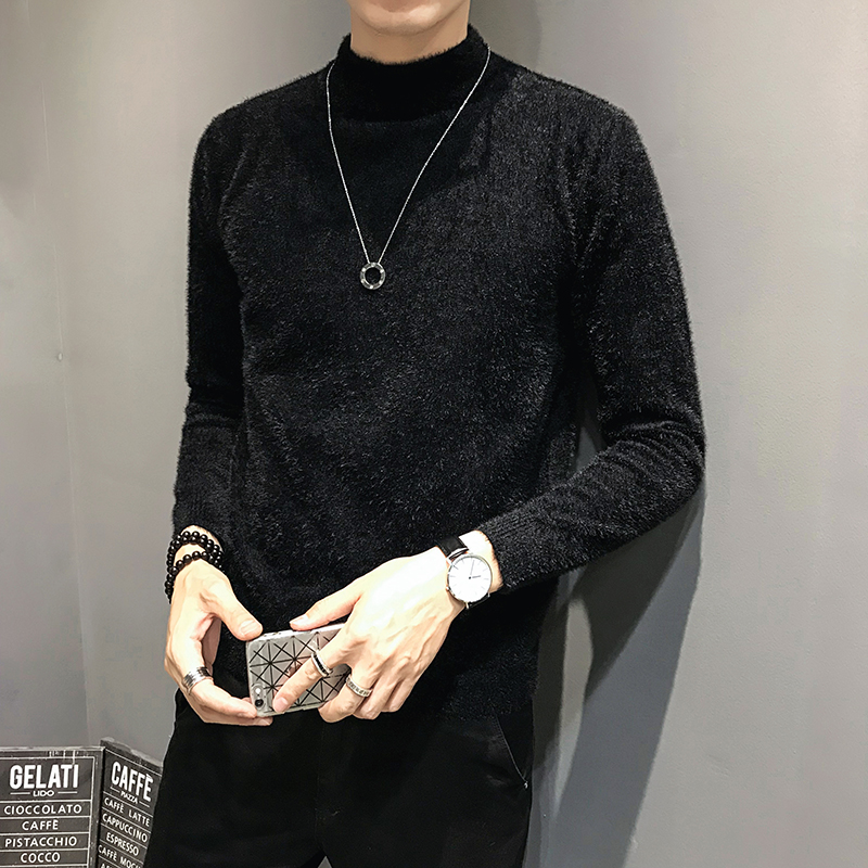NEW Winter Ferret Solid Color Sweater Men's Pullover Korean Casual Slim Fit Half-high Collar Knitted Men Sweaters Clothing