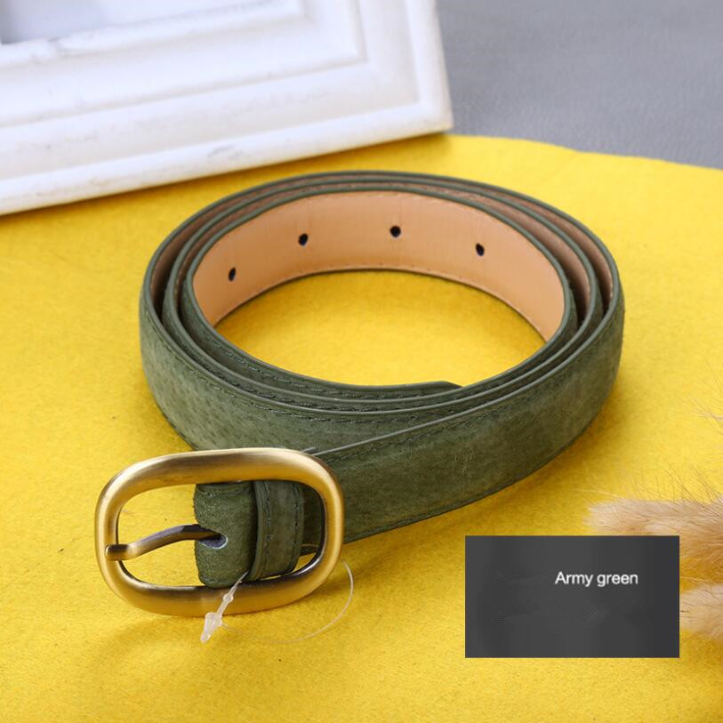 Waist Art 2020 New Retro Pigskin Ladies Belt Multicolor Needle Buckle Genuine Leather Decorative Pants Strap Beige Green Black