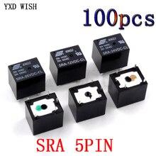 100pcs Relays SRA-05VDC-CL SRA-12VDC-CL SRA-24VDC-CL Power Relay 5 Pin DC 5V 12V 24V 10A 250VAC 5PIN Black Automobile Relay