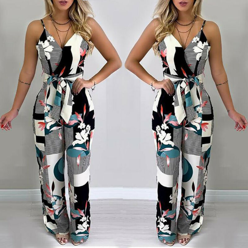 Women Sexy V-Neck Striped Geometric Printed Jumpsuit Female Sleeveless Bandage Loose Long Jumpsuits Summer Casual Clothes 2019