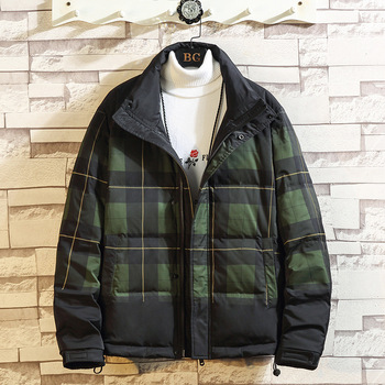 2020 Autumn & Winter New Arrival Casual Loose Plaid Cotton Hooded Zipper Down Coat Cardigan Gradient Cotton Coat Free Shipping