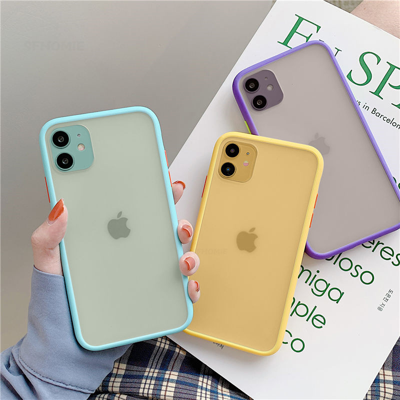 Mint Hybrid Simple Matte Bumper Phone Case For iPhone 11 Pro Max XR XS Max 6 8 7 Plus SE 2020 Shockproof Soft TPU Silicone Cover