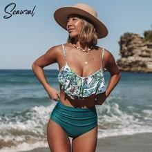 Conjunto de Bikini de cintura alta para mujer, bañador Sexy con estampado Floral, traje de baño con volantes, ropa de playa, Bikini para mujer 2020