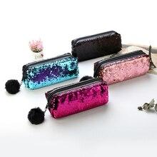 Креативные двусторонние пайетки пенал для девочек школьные принадлежности супер большие канцелярские подарки волшебный карандаш коробка сумки пенал