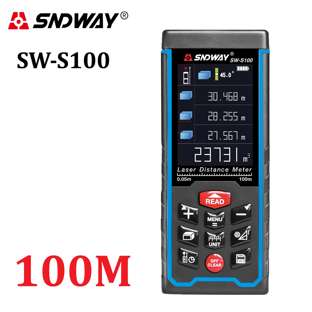 SNDWAY High-precision Digital Laser Rangefinder Color Display Rechargeabel 100m Laser Range Finder Distance Meters Tape Measure