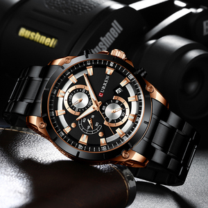 Image 4 - CURREN Top Brand Luxury Men Watches Sporty Stainless Steel Band Chronograph Quartz Wristwatch with Auto Date Relogio Masculino