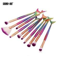 MAANGE 10 adet deniz kızı makyaj fırçası seti balık kuyruğu vakıf toz göz farı makyaj fırçalar kontur karıştırma kozmetik fırça