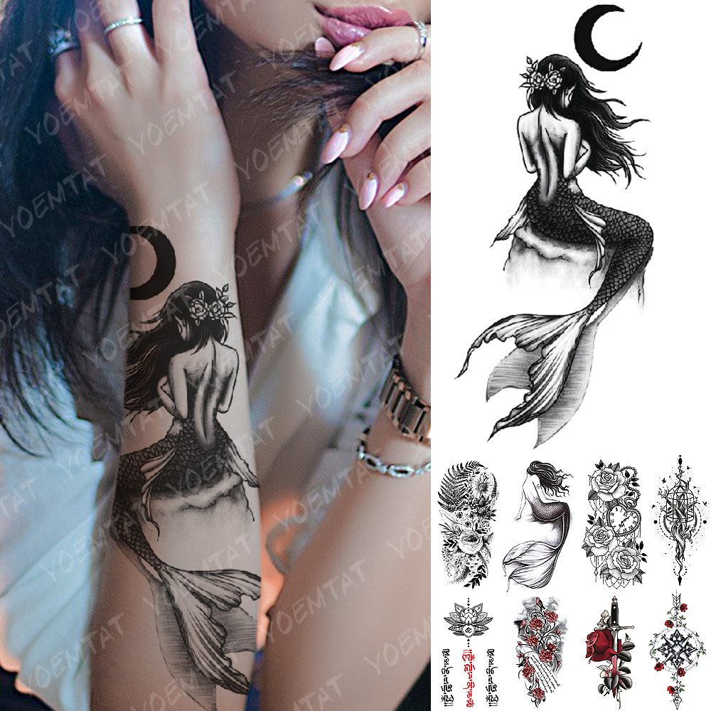 Waterproof Temporary Tattoo Sticker Moon Sea Mermaid Flash Tattoos Flowers Skull Mandala Body Art Arm Fake Tatoo Women Men