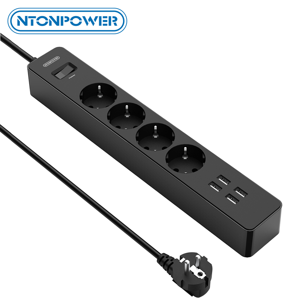 NTONPOWER Network Filter 4000W Smart Power Strip EU Plug Sockets With 1 5M Extension Cord Surge Protector for Home Office