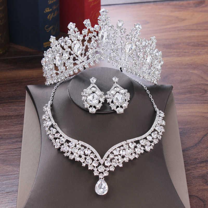 Baroque Tetesan Air Kristal Set Perhiasan Bridal Rhinestone Mahkota Tiara Kalung Anting-Anting untuk Pengantin Pernikahan Dubai Perhiasan Set