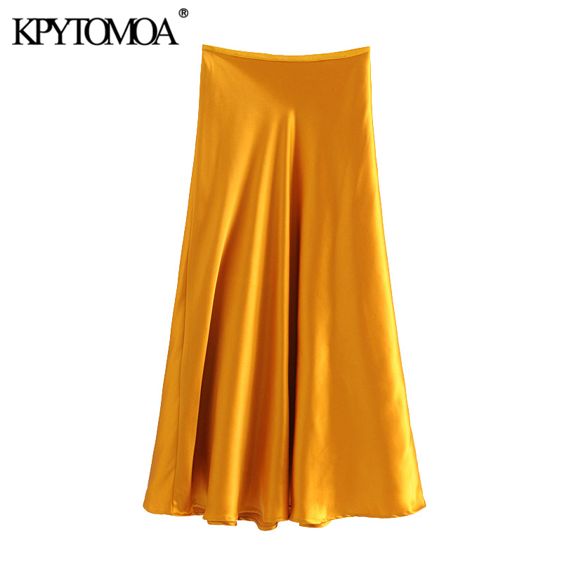 KPYTOMOA Women 2020 Elegant Fashion Office Wear Cozy Midi Skirt Vintage Flowing Elastic Waist Female Skirts Casual Faldas Mujer