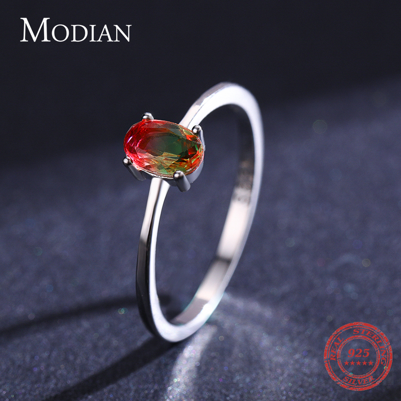 Modian 925 en argent Sterling coloré pastèque Tourmaline anneaux pour les femmes mode bande de doigt Fine bijoux Style coréen Anel 3