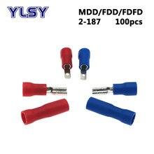 100 adet 4.8mm kadın erkek İzoleli sıkma terminali FDD/FDFD/MDD2-187 elektrik elektrik kablosu konnektörü 16-14 AWG 1.5-2.5mm2