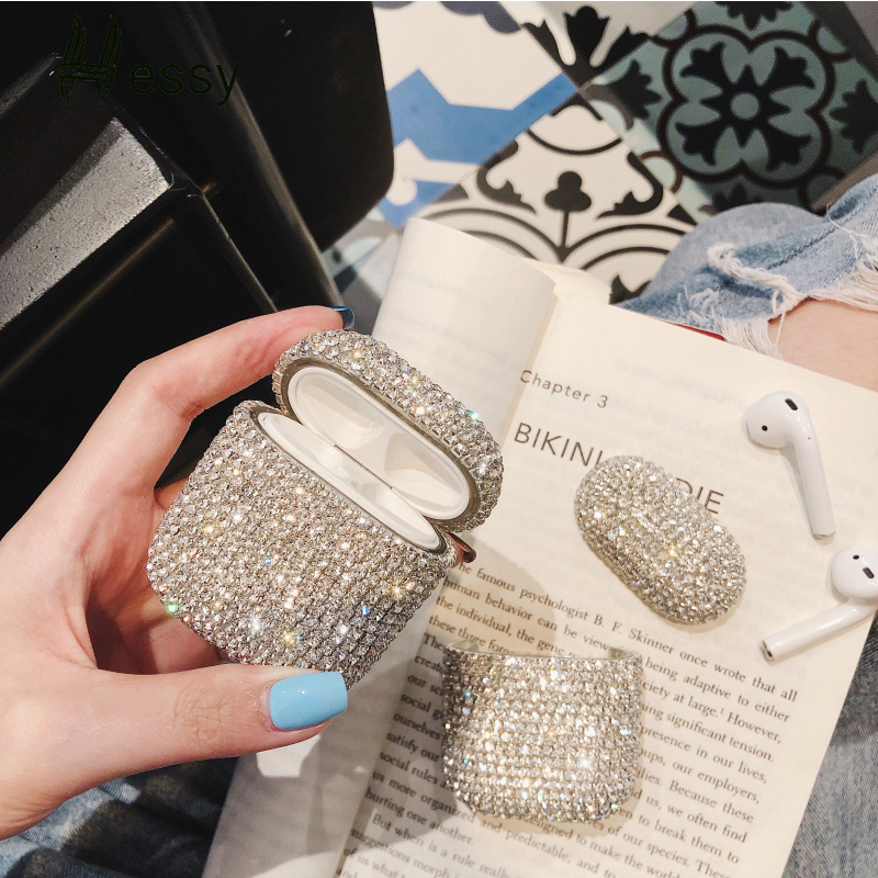 Luxury Glitter Diamond Decorative Case for Apple AirPods Case Accessories Bluetooth Earphone Case Protective Cover Charging Box