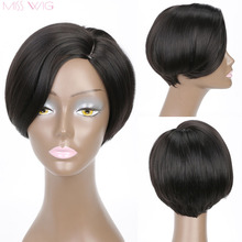 MISS WIG Curved Simulation Scalp 6Inchs Short Wigs for Black Women Synthetic Wigs Black Hair miss peregrine s home for peculiar children miss perry green cosplay wig eva green black short curly hair wigs