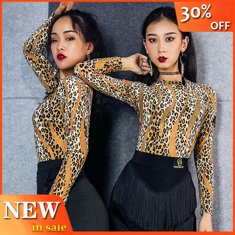 New Latin Dance Leopard Tops Sexy Long Sleeve Gauze Shirt Modern Dance Wear Women'S Dancing Clothes Autumn Ballroom Tops L2932